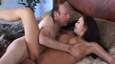 Wonderful redhead milf with big tits gets fucked by a horny old man