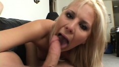 Sexy blonde Elizabeth gives him some hot head and spreads wide to fuck