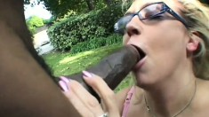Olivia Saint loves sucking every single inch of this black snake