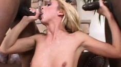 Kelly gets a rough sexual lesson from two well hung black guys