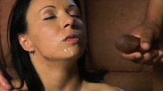 Luscious brunette milf fully enjoys the hardcore interracial threesome