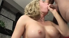 Irresistible inked blonde bounces her curvy ass on a love rod