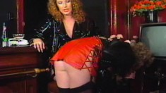 Mistress Debbie has her S & M slave pleasure her and her friend