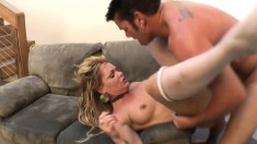 Blonde mom in white stockings can't resist a young guy with a big dick