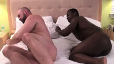 Hot white stud punishes his black lover's anal hole all over the bed