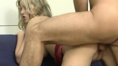 Enticing blonde with perfect boobs Stephanie has an exciting affair