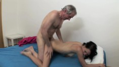 Skinny young girl gets her narrow cunt drilled hard by a horny old man