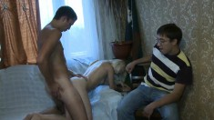 Hot blonde cocksucker gets into a threesome with two horny guys