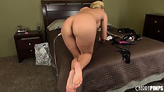 Fortunate actress with blond hair Phoenix Marie boasts with her apples
