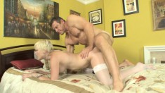 Nora Sky rides on his prick and lies back to take his warm load