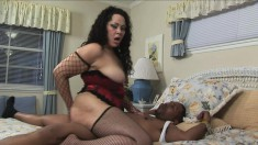 Chubby Isabella slurps on his meat and gets a wild pounding on the bed