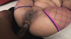 Luscious Mone Divine has a massive black dick hammering her anal hole