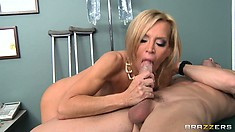 This busty blond MILF loves fucking her patients in the examination room