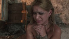 Blonde submissive chick Linda Ray gets tied up and dominated