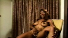 Tight-bodied ebony beauty touches herself to win an audition
