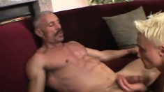 Twink sucks an old bear's prick and gets it drilled up his fresh asshole