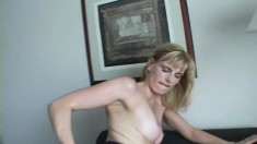 Sensual Blonde Mommy With A Lovely Ass Wildly Fucks A Big Black Pole