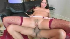 Nasty babe in stockings Haley Paige has a hung guy stretching her ass