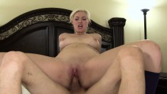 Beautiful Jenna Ivory tongues her lover's ass and fucks his hard stick