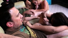 Sexy babes Vicki Chase, Anjanette Astoria and Nikki Delano do dick and pussy