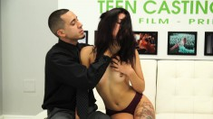 Latina hottie Gina Valentina nibbles on his nut before he nails her