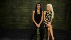 Skinny blonde Halle Von gets fucked deep with dildos by Marina Angel