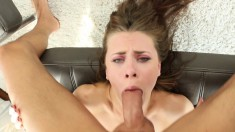 Cute young babe enjoys a big stick and gets her peach filled with cum