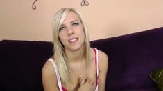 Bodacious Blonde With A Cute Smile Has A Long Dick Filling Her Peach