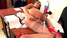 Reckless hotting with innocent countenance stimulates her tender clitoris