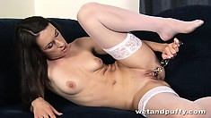 Good slut in stockings makes an incredible show with transparent, phallic instrument
