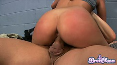 He pounds her tight pussy deep and she rides that big shaft with great excitement