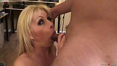 Naughty blonde Brooke Haven gives a sensual blowjob for a facial