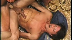 Two dudes fuck their asses with a two sided dildo, then they jerk off