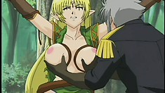 Lucky anime prince getting something-something from a stacked elf beauty