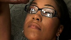 Big bootied black bitch with glasses gets them covered in jizz