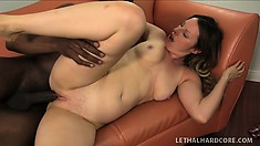 Hot babe with a perky ass and big boobs invites a black stud to drill her holes deep