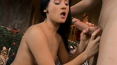 Hot brunette freaks screams to her heart's content during sex