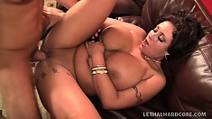 Saucy MILF with huge knockers bends over to get her butt rammed hard