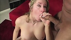 Stacked blonde fingers her pussy while a long cock deeply invades her anal hole