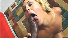 Nasty black hunk works a horny blondes sweet cunt with his monster boner