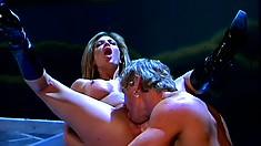 Anthony Hardwood gets busty Nina Dulci outside under a full moon