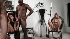 Bossy Candy Vegas makes two black men double penetrate her slave girl