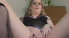 Fine as fuck babe pleasures her tight cunt until she can cum