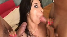 Pretty brunette with tiny tits Monica Breeze having fun with two cocks