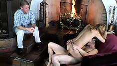 Horny guy watches his marvelous wife getting fucked hard by a stranger