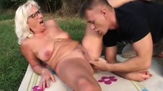 Hung young stud gives this nasty old lady the rough fuck she deserves