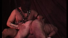 Leather clad pair of guys enjoy some hardcore fucking in the dungeon
