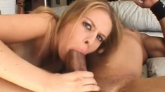 Stacked blonde takes every inch of a huge black dick in her tight ass