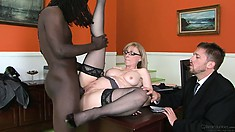 Big black male is doing something incredible with the cunt of nice milf
