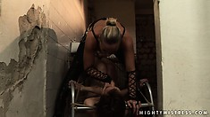 Short-haired brunette tramp gets punished by her hot mistress